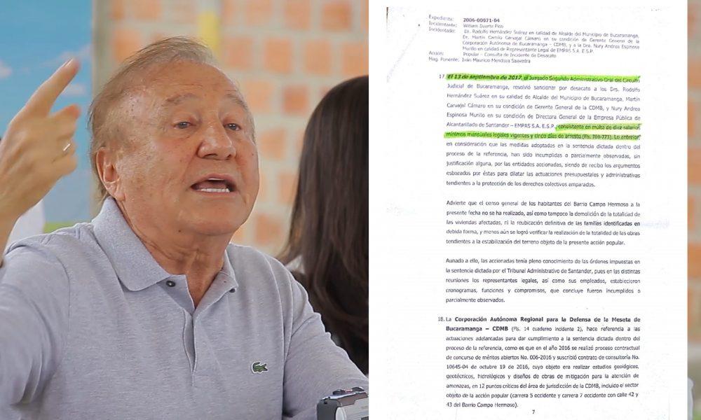 Alcalde de Bucaramanga podría ir a prisión por desacato.