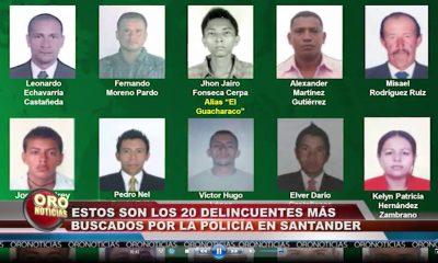 Policía publicó el cartel con los 20 más buscados en Santander