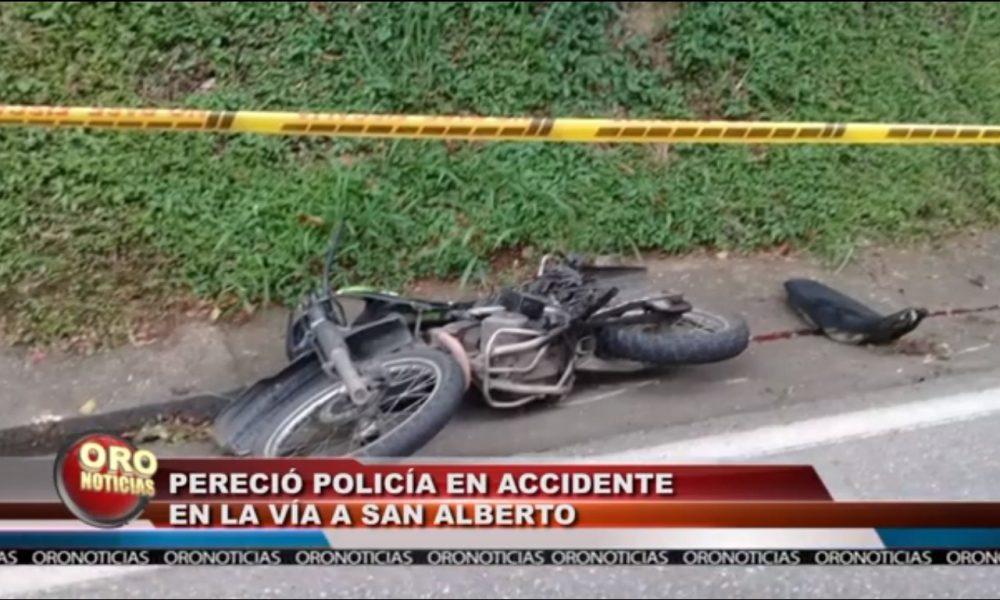 El patrullero Luis Alberto Cáceres Rojas, falleció en la vía a San Alberto, Cesar