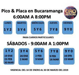 PICO & PLACA EN BUCARAMANGA 14 DE ENERO AL 30 DE MARZO 2019
