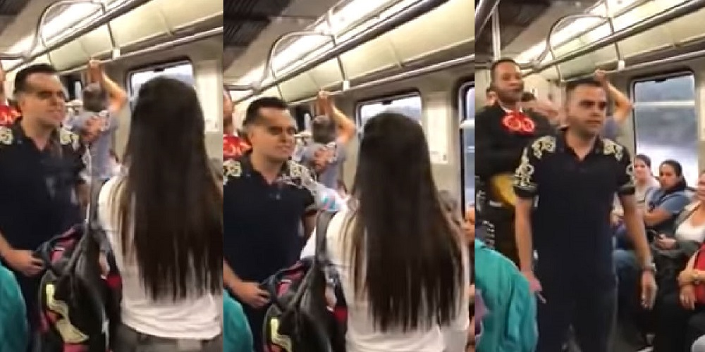 Un joven cantante se subió al Sistema de Transporte de Medellín, junto a un mariachi para dedicarle a la que era su novia una canción
